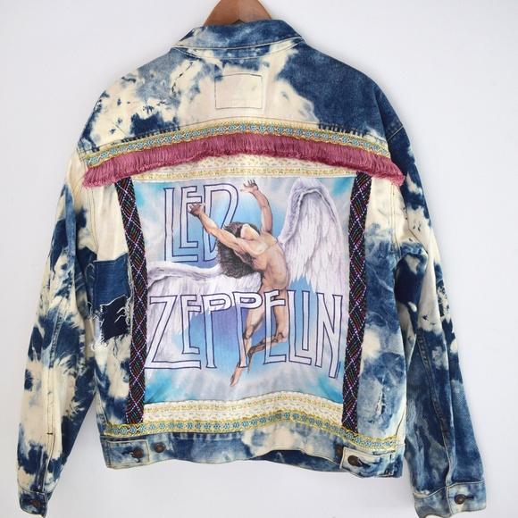 f22b3e285 Vintage Led Zeppelin Embellished Denim Jacket